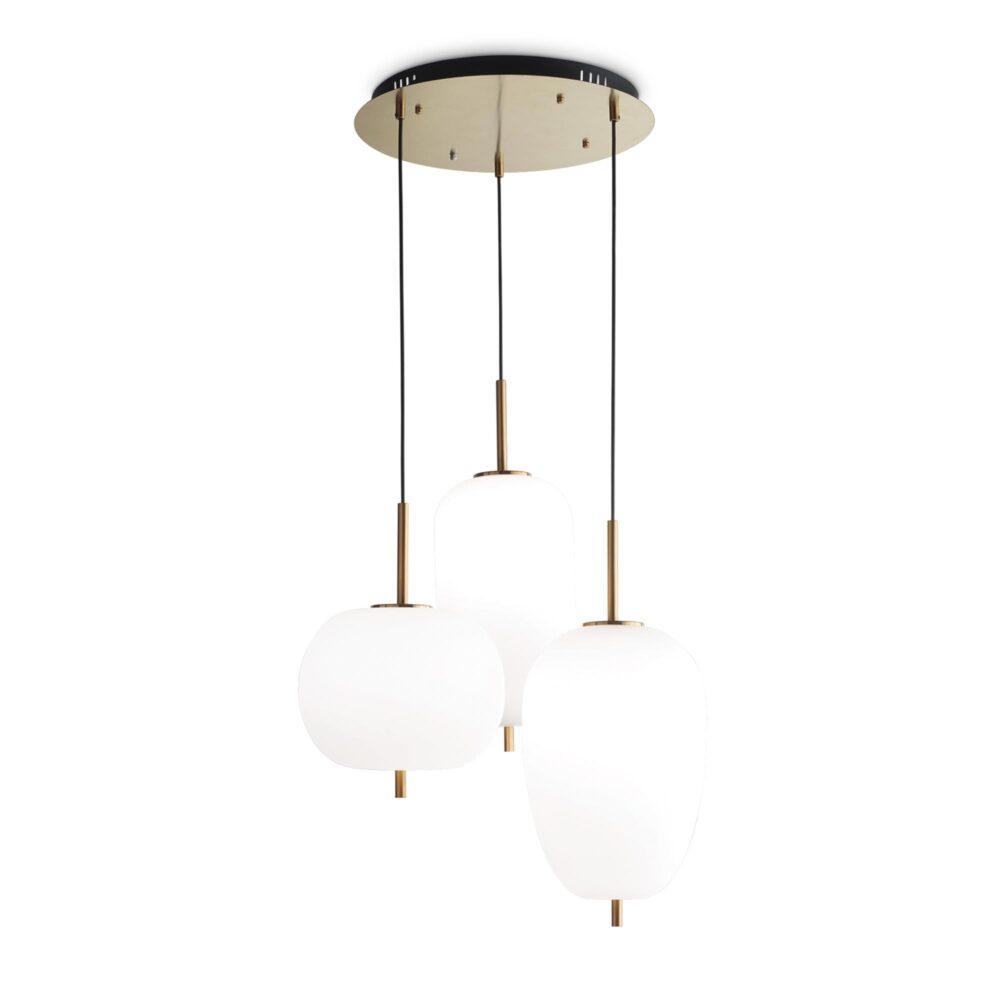 3 Light Matt Gold Opal Glass Pendants Pendants