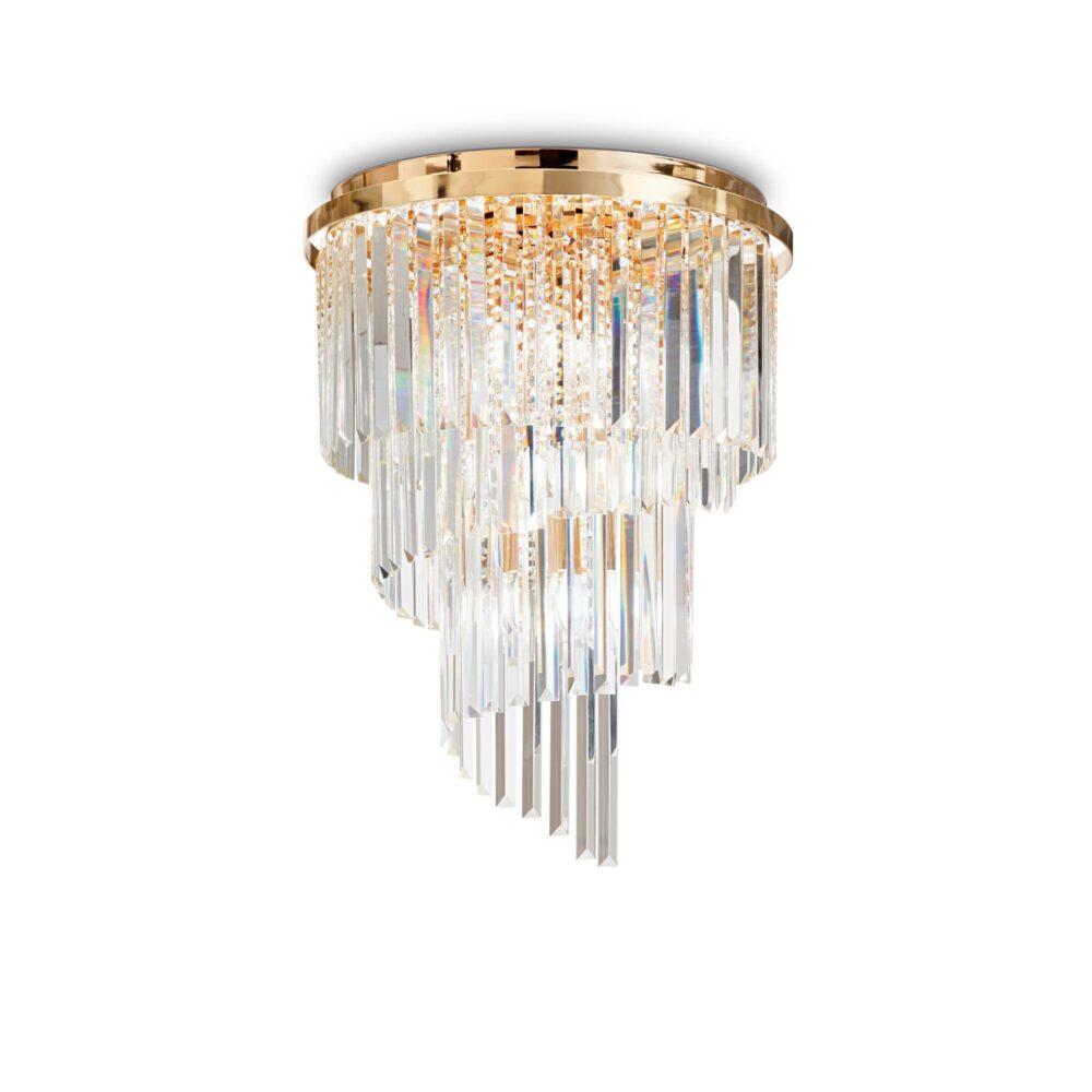 3 Light Gold Crystals Wall Light