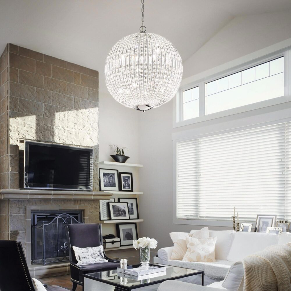 6 Light Chrome Crystals Chandelier Chandeliers