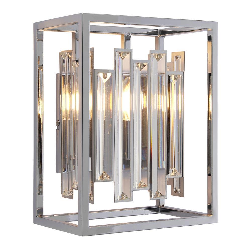 1 Light Polished Chrome Crystals Wall Light