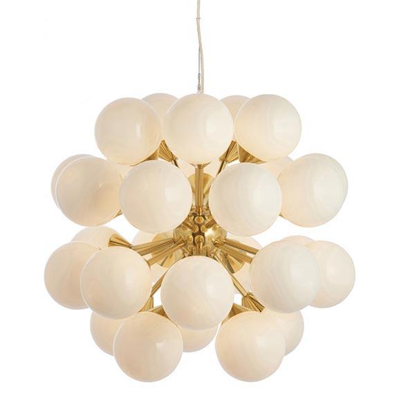 28 Light Brushed Brass Opal Glass Chandelier Chandeliers