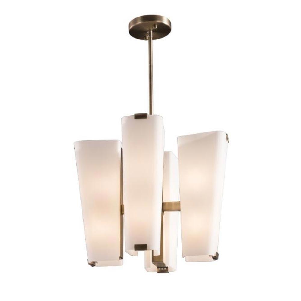 8 Light Antique Brass Opal Glass Chandelier Chandeliers