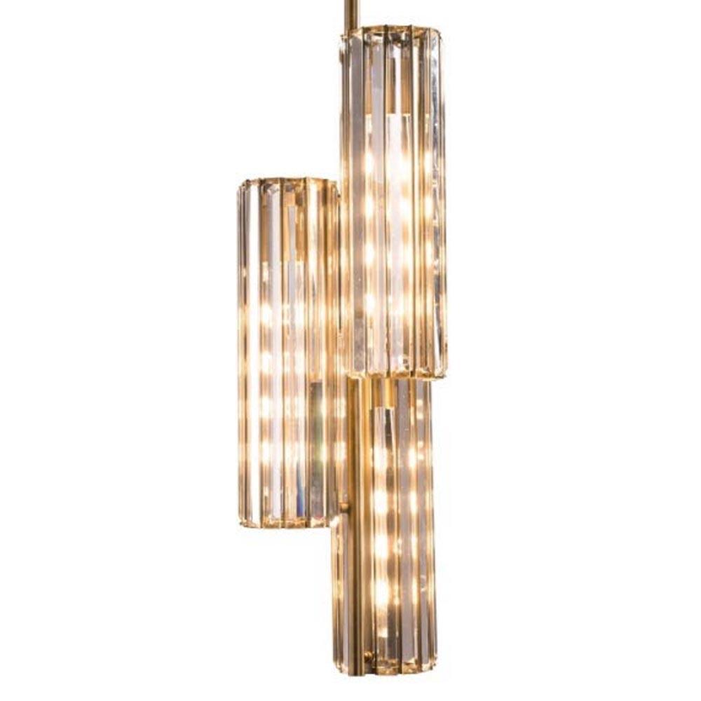 3 Light Antique Brass Clear Crystal Pendant Pendants
