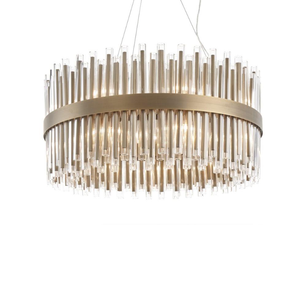18 Light Antique Brass Clear Glass Chandelier Chandeliers