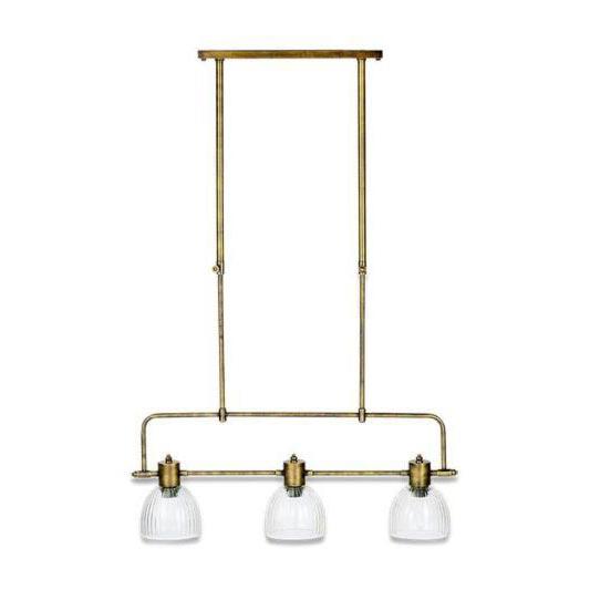 3 Light Antique Brass Prismatic Glass Pendant Pendants
