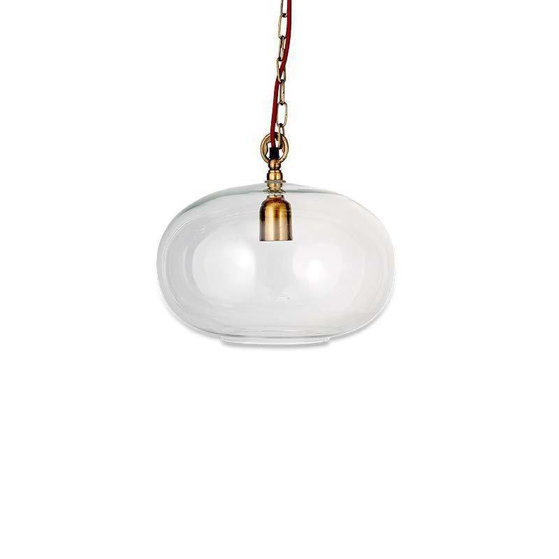 1 Light Clear Glass Antique Brass Pendant Pendants