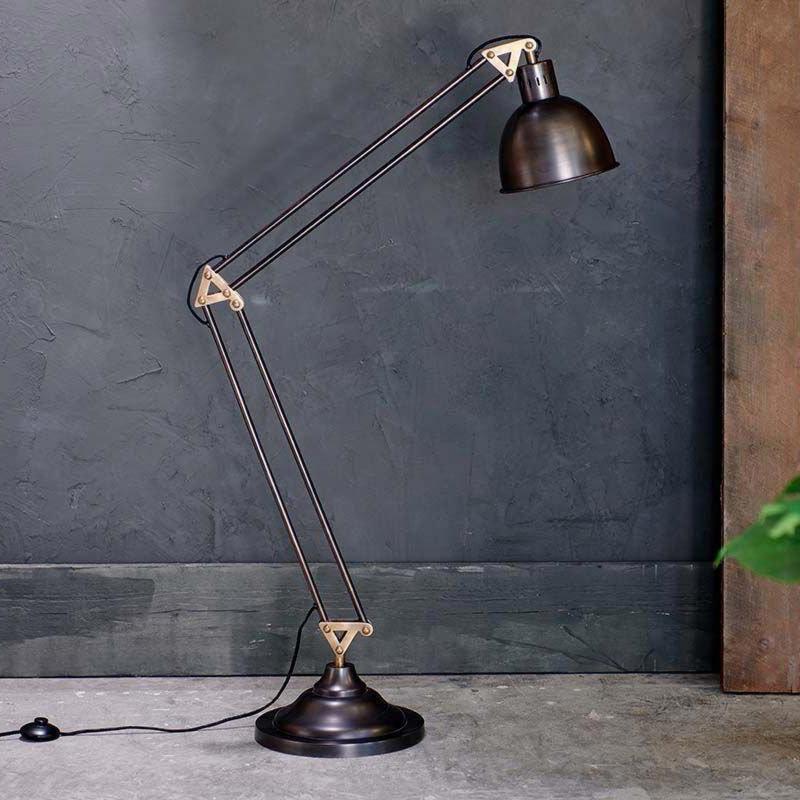 1 Light Aged Bronze Satin Brass Floor Lamp Floor Lamps
