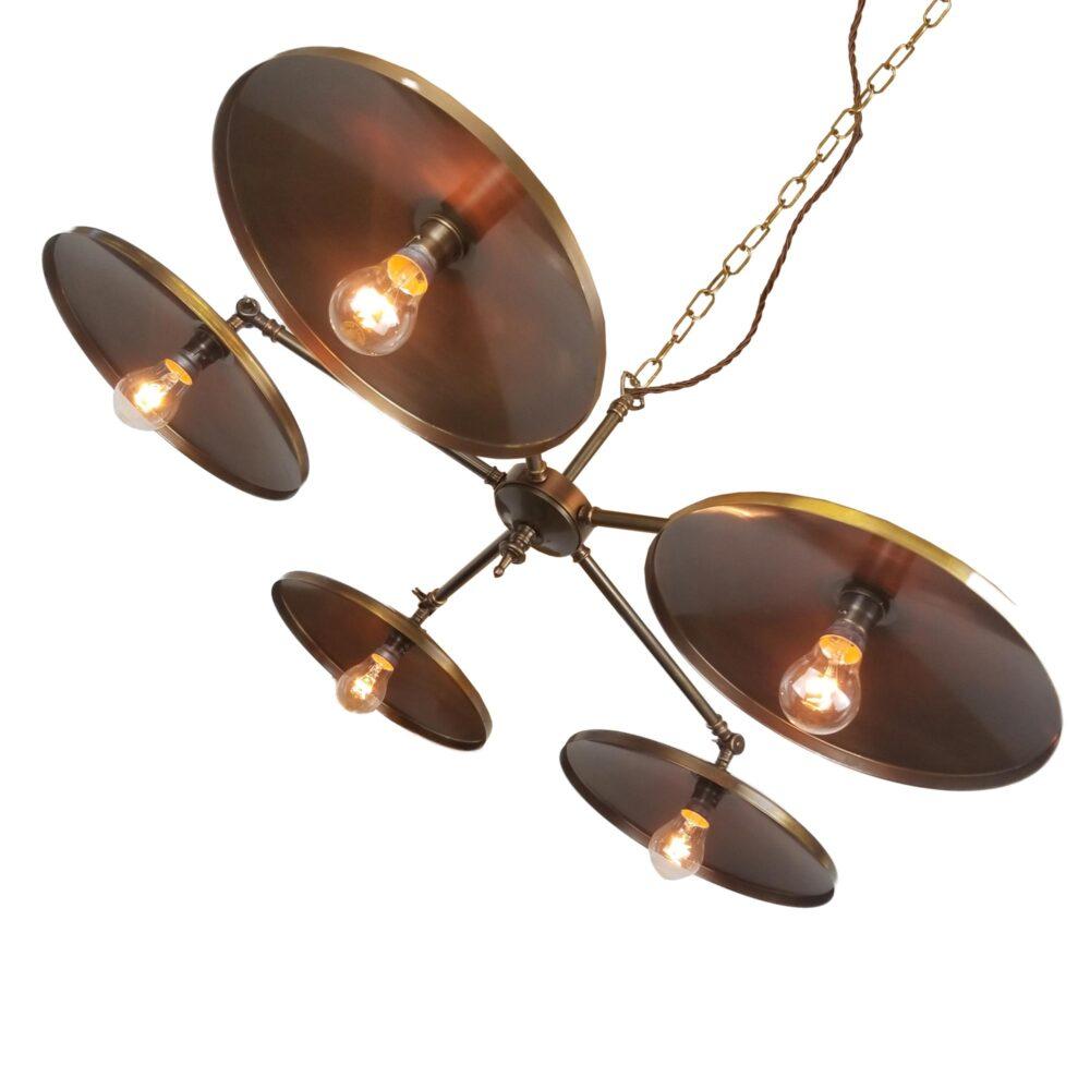 5 Light Dish Brass Chandelier Chandelier