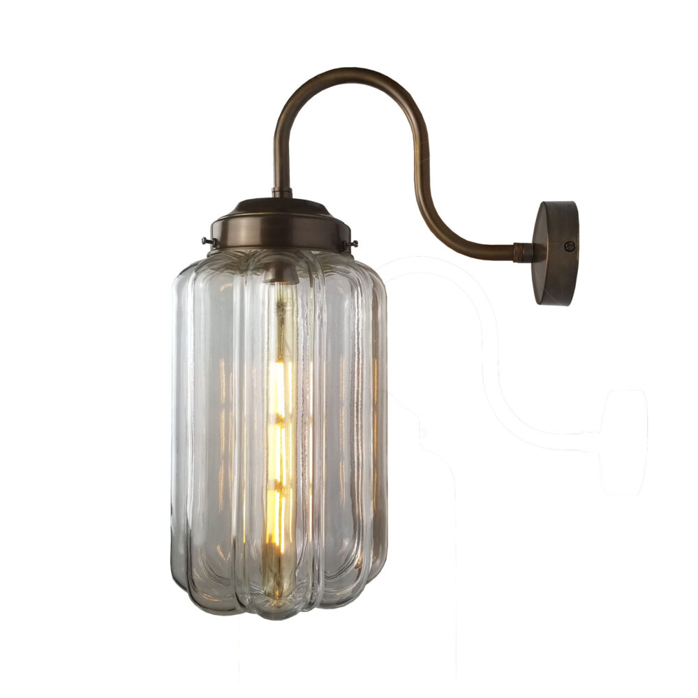 Ribbed Art Deco Glass Brass Wall Light Wall Lights
