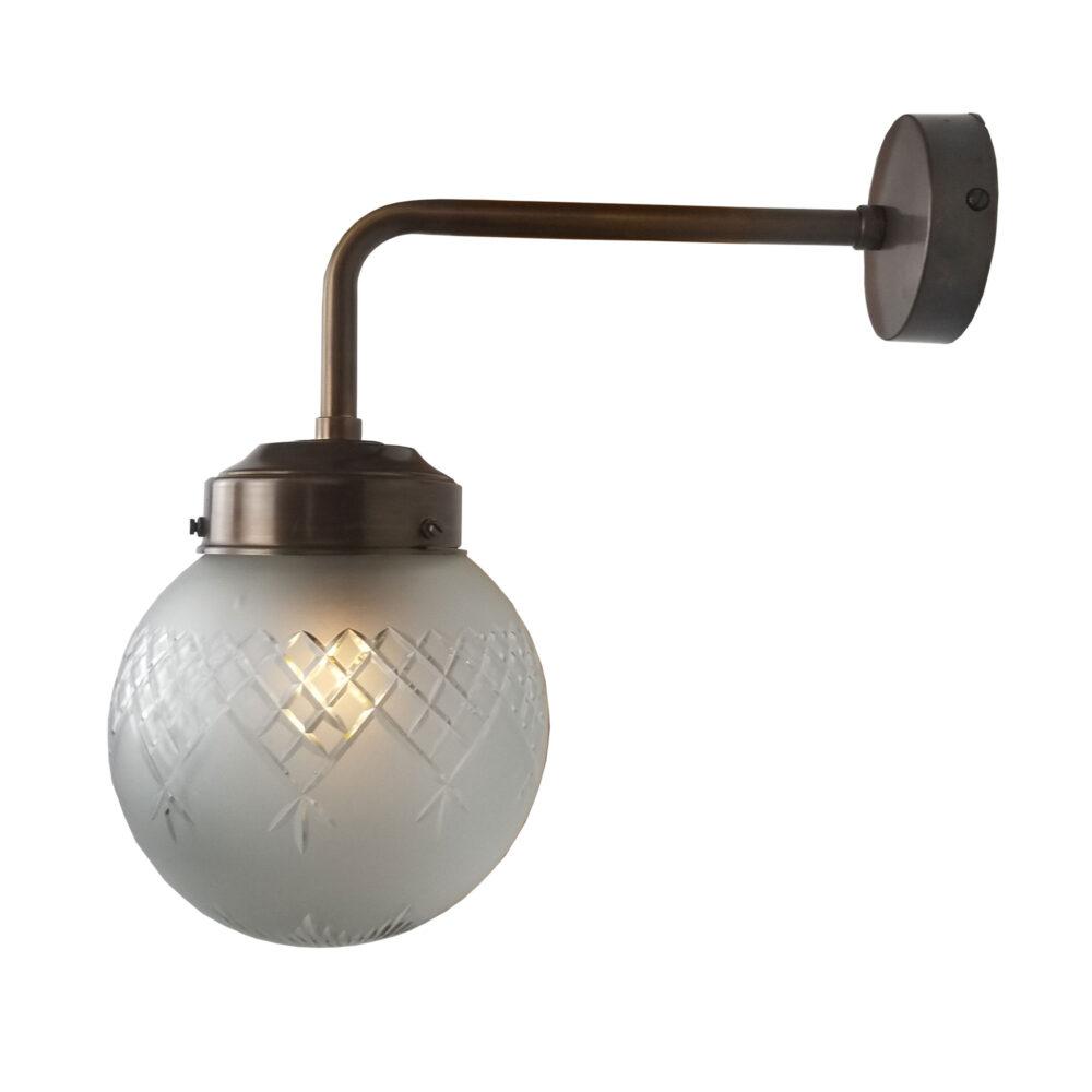 Brass Glass Globe Wall Light 150mm Wall Lights