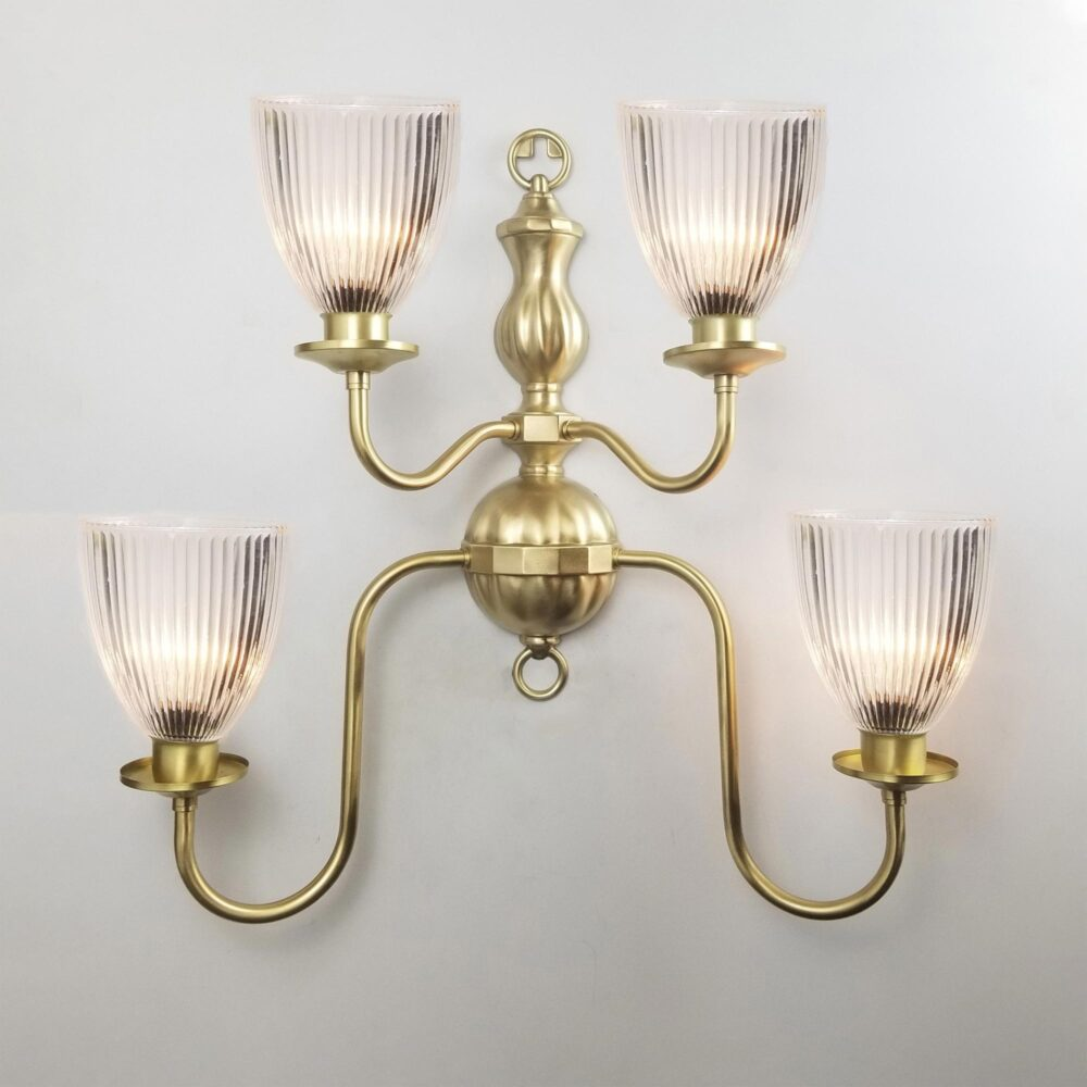 4 Light Prismatic Cone Glass Brass Flemish Wall Light Wall Lights