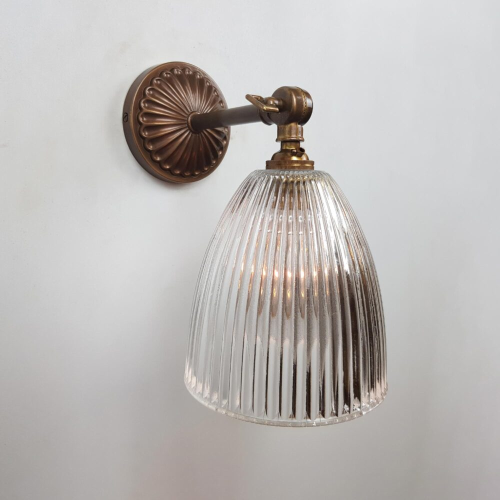 Adjustable Brass Wall Light with Prismatic Glass Shade Wall Lights