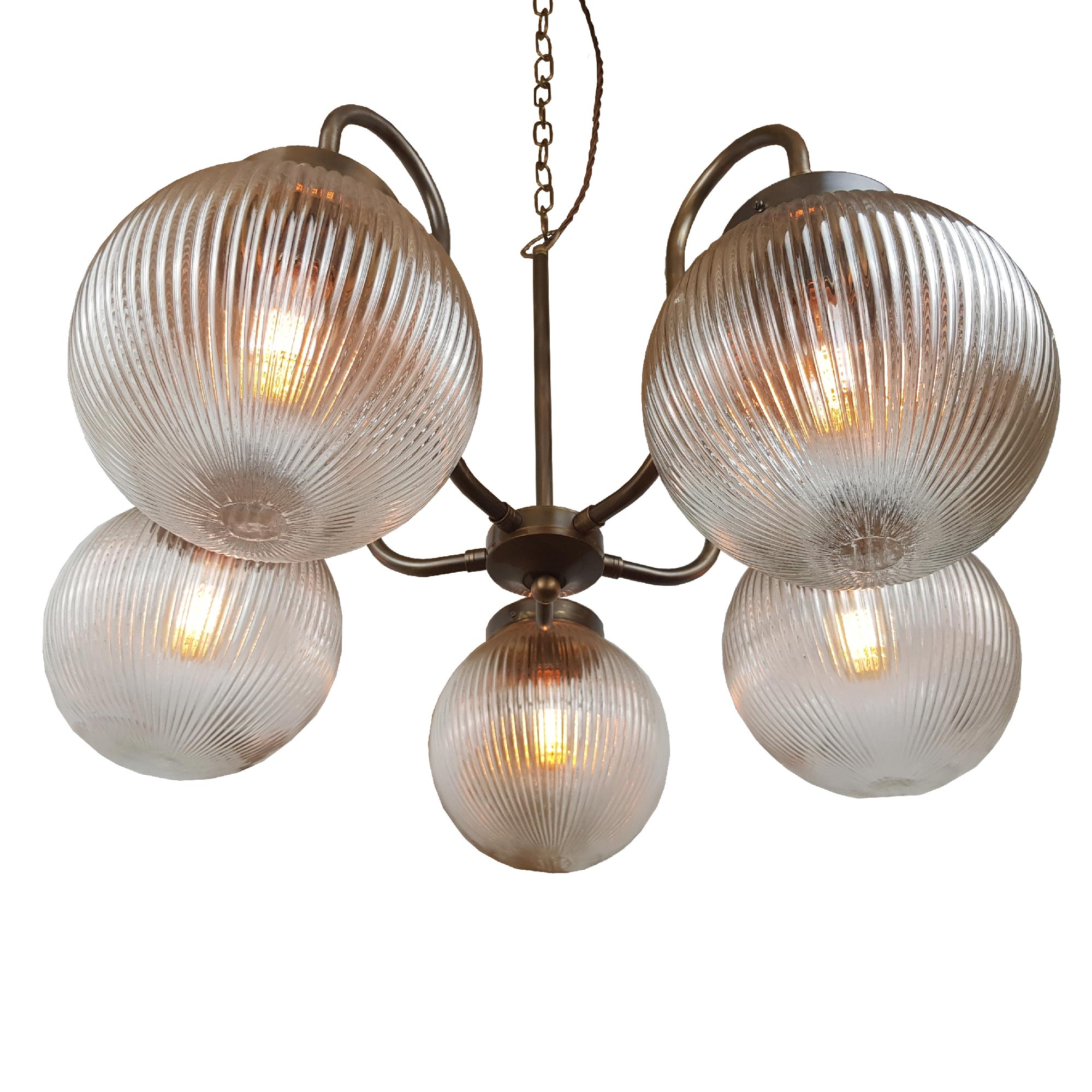 5 Light Brass Chandelier with Prismatic Glass Globes