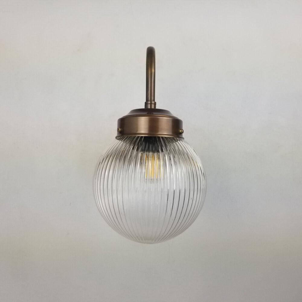 Swan Neck Brass Wall Light with 150mm Glass Globe Wall Lights