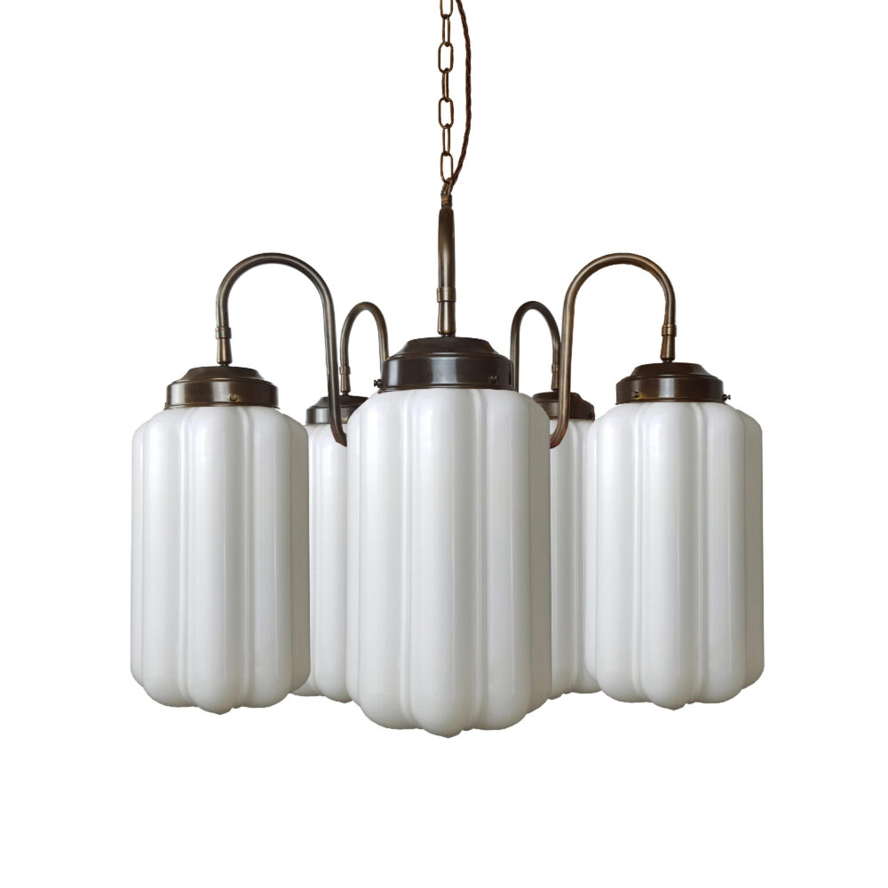 5 Light Brass Chandelier with Glass Globes Chandeliers