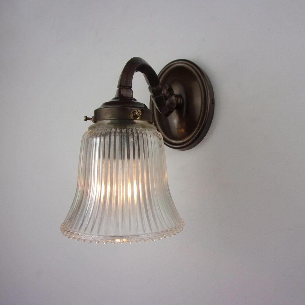 Traditional Brass Wall Light with Prismatic Glass Shade Wall Lights