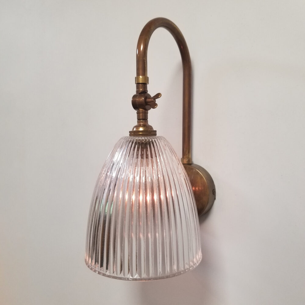 Traditional Brass Wall Light With Prismatic Glass Wall Lights