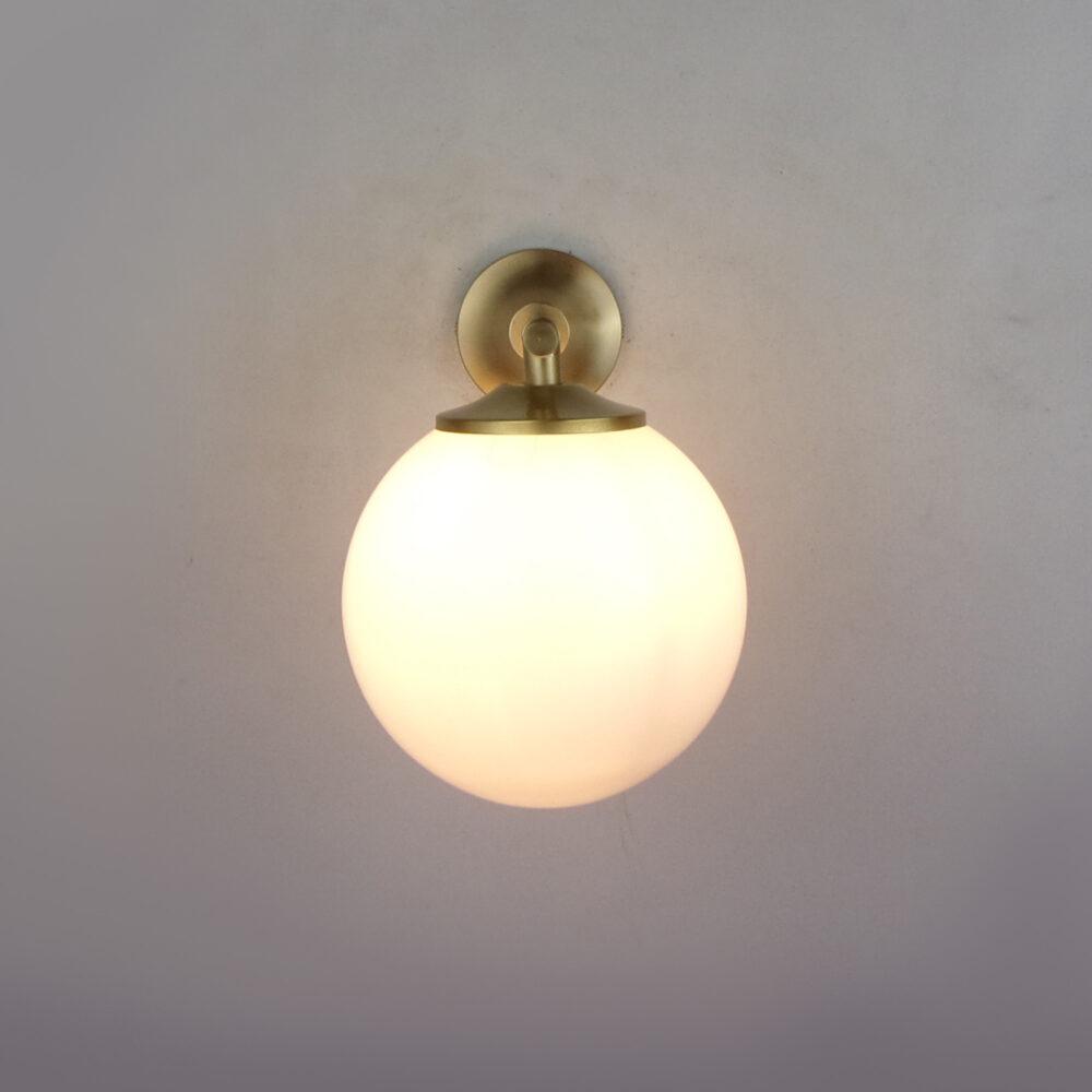 Brass Wall Light With Opal Glass Wall Lights