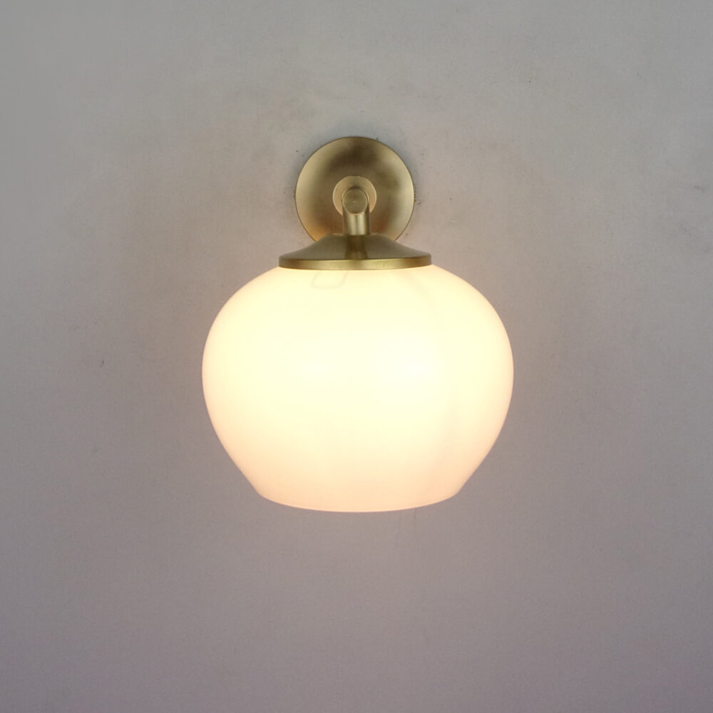 Traditional Brass Wall Light With Opal Glass Wall Lights