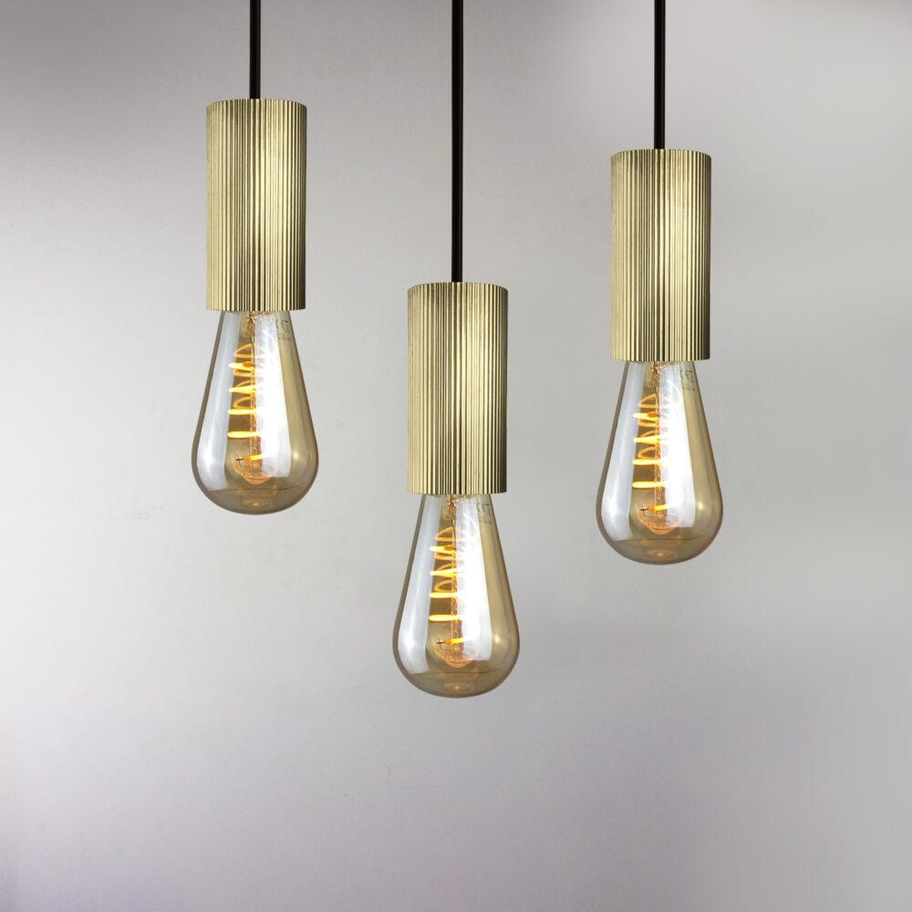 3 Light Ribbed Brass Cluster Pendant with Flex Pendants