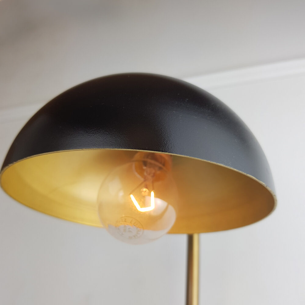 Two Tone Brass Wall Light with Black Shade Wall Lights
