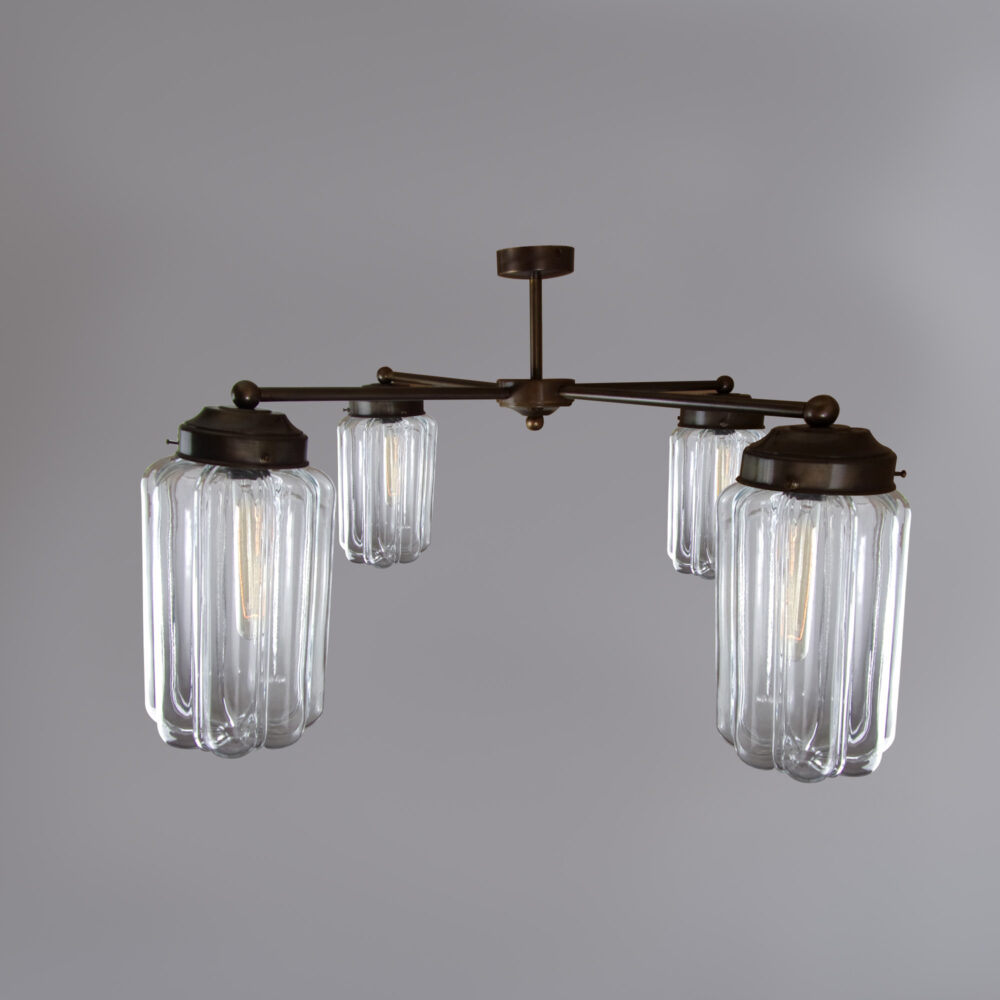 3 Light Chandelier with Opal Globe Ceiling