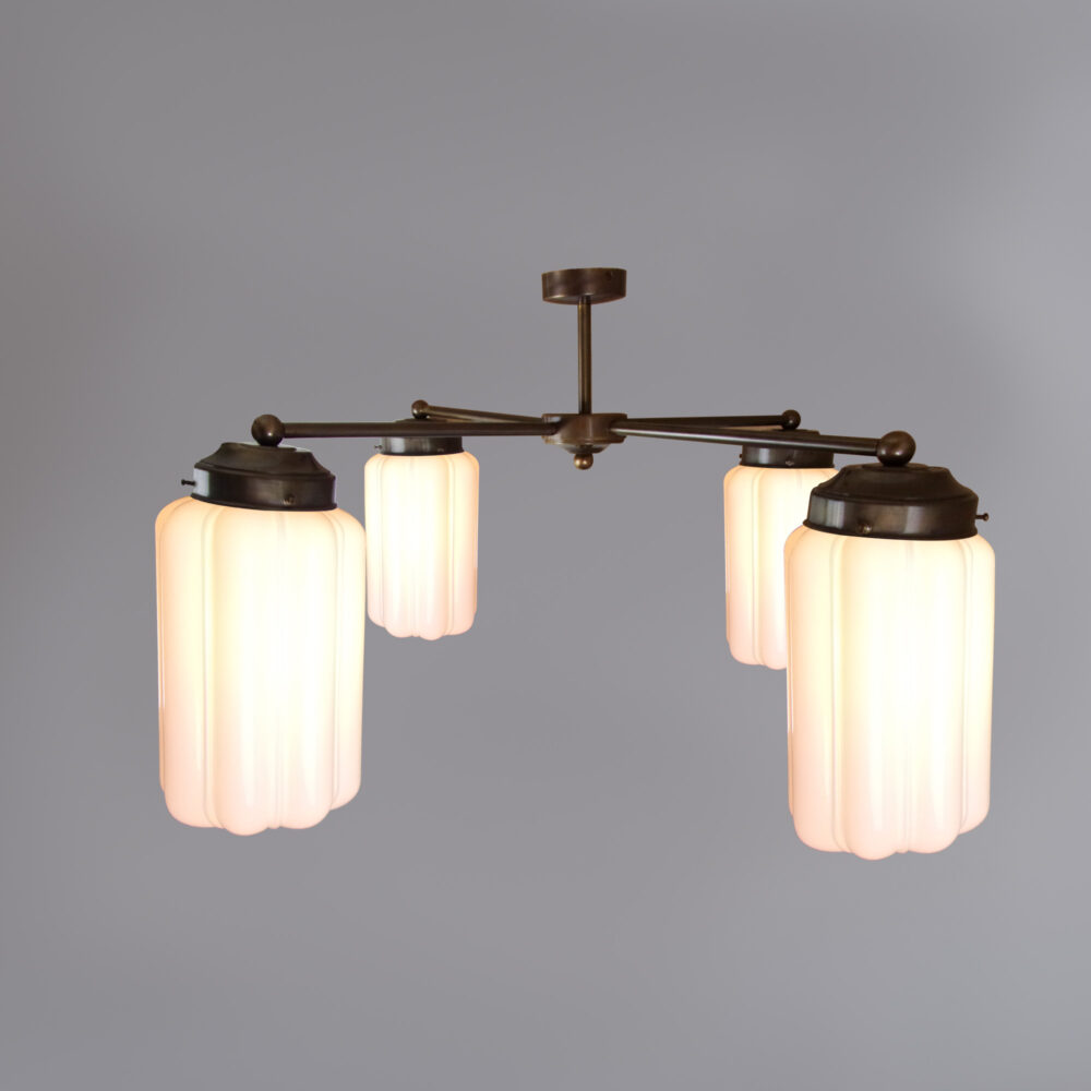 4 Light Chandelier with Clear Glass Ceiling