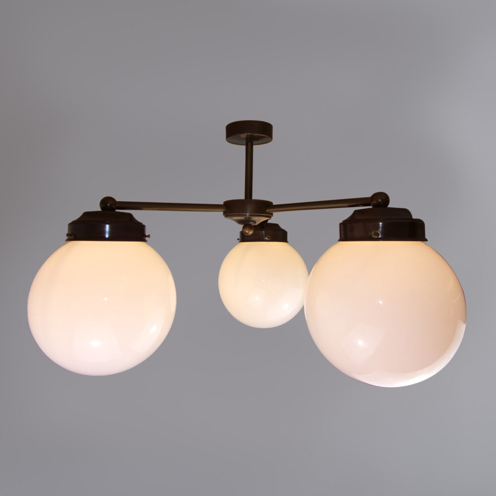 4 Light Chandelier with Opal Globe Ceiling
