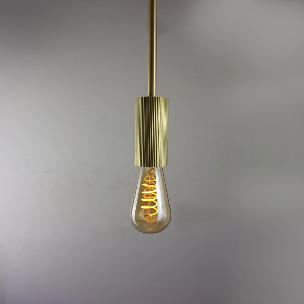 Ribbed Brass Pendant with Fixed Rod Pendants