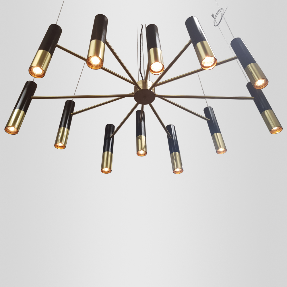 Two-Tone Tiered Tube Chandelier Ceiling