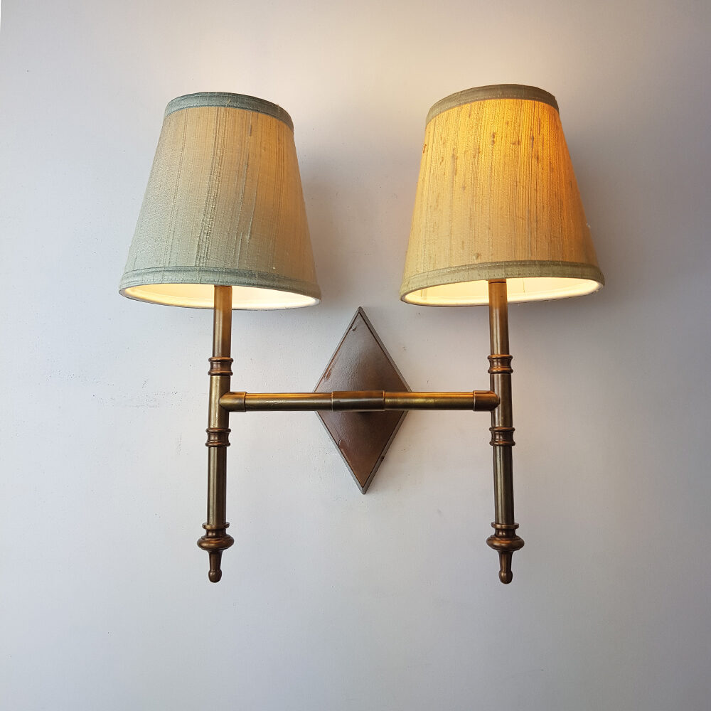 Twin Arm Brass Wall Light with Prismatic Glass Wall Lights