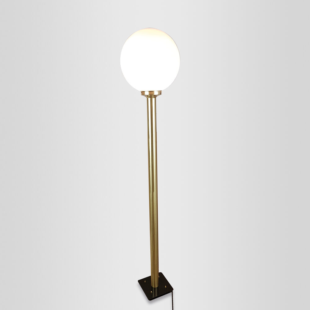 Hardwired Brass Floor Lamp with Elongated Glass Floor Lamps