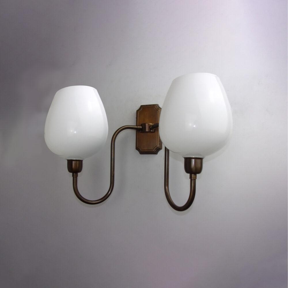 Twin Arm Brass Wall Light with Opal Glass Wall Lights