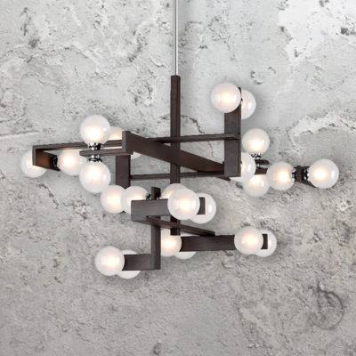 24 Light Designer Bronze Wood Chandelier