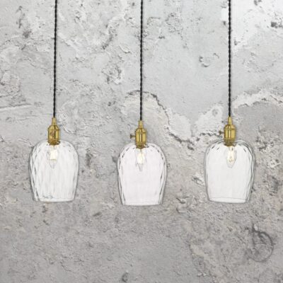 3 Light Antique Brass Glass Pendant