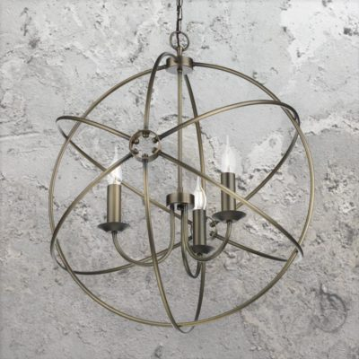 3 Light Antique Brass Orb Chandelier