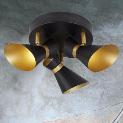 3 Light Black Gold Spotlights