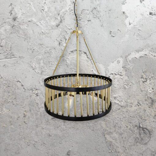 3 Light Polished Brass Cage Chandelier