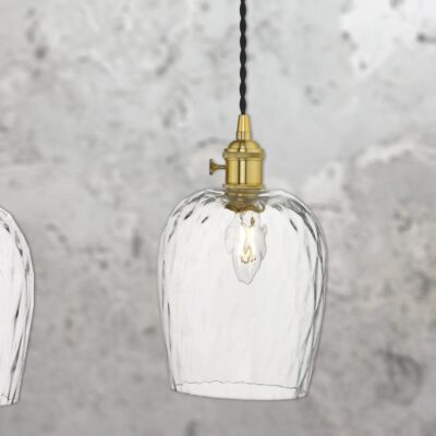 3 Light Brass Glass Pendant
