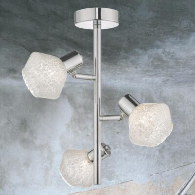 3 Light Chrome Crystal Glass Semi Flush