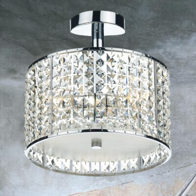 3 Light Chrome Semi Flush