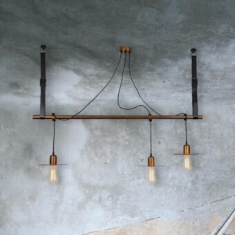 3 Light Copper Bar Pendant Light