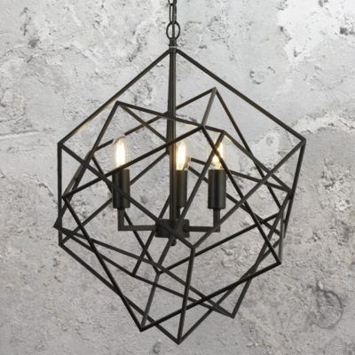 3 Light Geometric Black Pendant