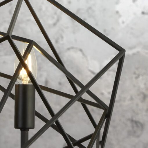 3 Light Geometric Matt Black Pendant
