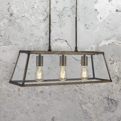 Antique Brass 3 Light Glass Box Pendant