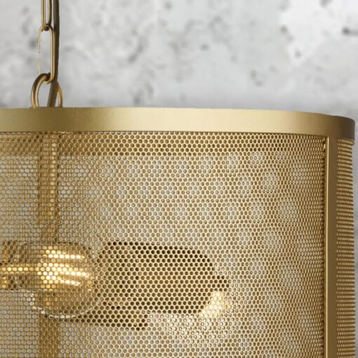 Gold Mesh Drum Pendant Light,3 Light Gold Mesh Drum Pendant