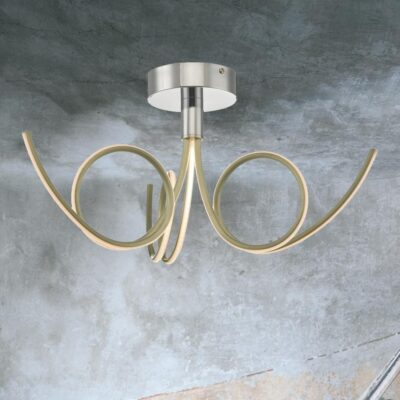 3 Light LED Gold Semi Flush