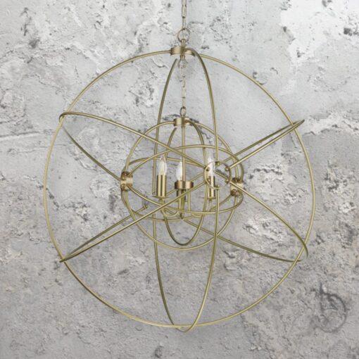 3 Light Large Brass Orb Chandelier