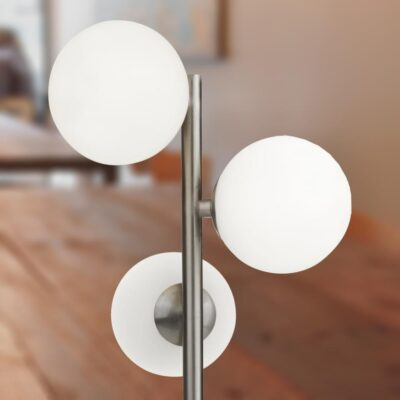 3 Light Opal Globe Silver Table Lamp
