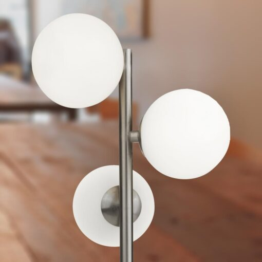 3 Light Opal Globe Silver Table Lamp